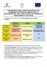 CALENDARIO PRUEBAS LIBRES SEPTIEMBRE