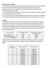 Cuadro de límites de renta familiar para solicitar la subvención de libros de texto.